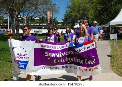MIAMI, FL - APRIL 6: Students participate in the American Cancer Society Relay for Life event on the University of Miami campus in Coral Gables, Florida on April 6, 2013.