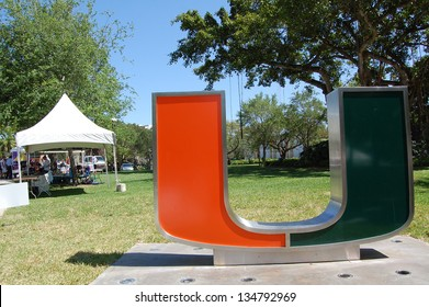 """MIAMI, FL - APRIL 6: A tent is set up for the American Cancer Society Relay for Life event near the """"U"""" sculpture on the University of Miami campus in Coral Gables, Florida on April 6, 2013."""