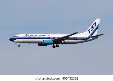 MIAMI, FL - FEBRUARY 16:  An Eastern Air Lines Boeing 737-800 landing on February 16, 2016 in Miami, FL. Eastern Air Lines is an American airline based in Miami.