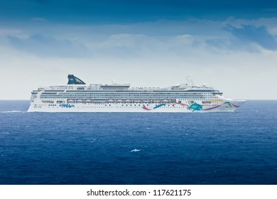 MIAMI, FL - JAN.22:  NCL's cruise ship, the Norwegian Dawn, heads back to Miami port. The ship underwent a multi-million dollar renovation to enhance the cruising experience, on Jan. 22, 2011.