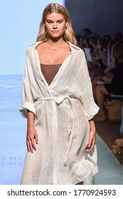 MIAMI, FL - JULY 12: A model walks the runway at the Vitamin A by Amahlia Stevens show during Nu Wave Fashion Week Swim 2019 on July 12, 2019 in Miami, Florida.