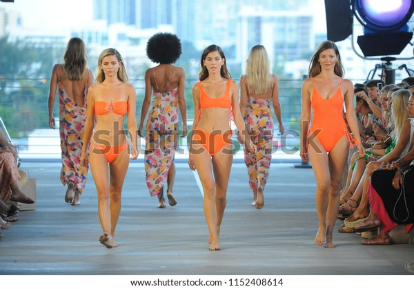 MIAMI, FL - JULY 14: Models walk the runway for Acacia Resort 2019 during Paraiso Fashion Fair at 1111 Lincoln Road on July 14, 2018 in Miami, Florida.