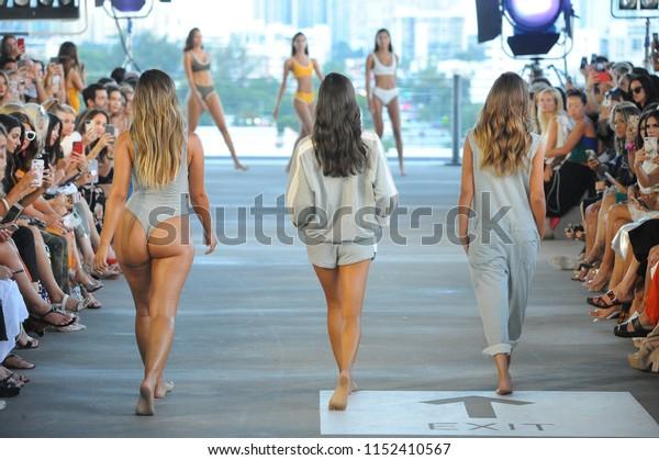MIAMI, FL - JULY 14: Models walk the runway for Acacia Resort 2019 during Paraiso Fashion Fair at 1111 Lincoln Road on July 14, 2018 in Miami, Florida.