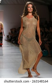 MIAMI, FL - JULY 21: A model walks runway at the Indah fashion show during MBFW Swim 2015 at The Raleigh hotel on July 21, 2014 in Miami, FL.