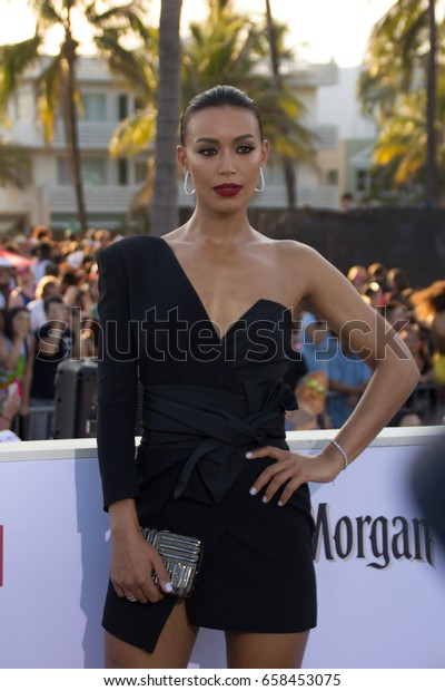 MIAMI, FL - MAY 13, 2017: Ilfenesh Hadera arrives at the premiere of Baywatch the movie on May 13, 2017, in Miami Florida
