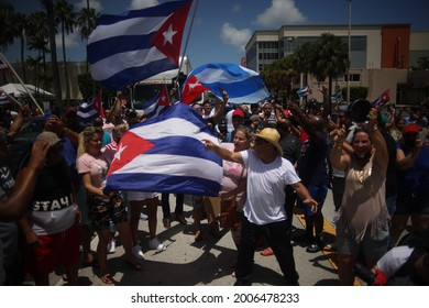 MIAMI, FL, UNITED STATES - JULY 11, 2021: Cuban exiles rally at Versailles Restaurant in Miami's Little Havana in support of protesters in Cuba.