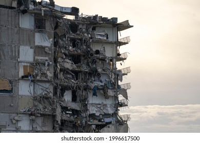 MIAMI, FL, UNITED STATES - JUNE 24, 2021: View of a partially collapsed building in Surfside North of Miami Beach.