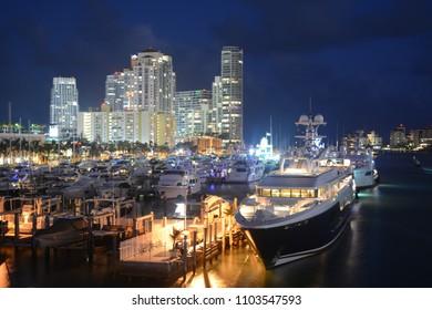 MIAMI, FL, USA -20 JANUARY 2018: Night view of Miami Beach Marina near South Pointe Park Pier