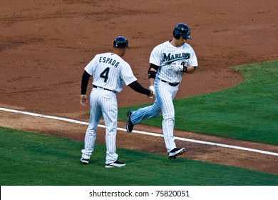MIAMI, FL USA - APR. 22: Marlin first baseman Gaby Sanchez rounds the bases after hitting a home run in the third inning of the Colorado Rockies vs. Florida Marlins game April 22, 2011 in Miami, FL.