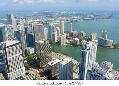 MIAMI, FL, USA - APRIL 15, 2019: Aerials of Brickell Downtown Miami bay port harbor