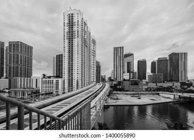 Miami, FL, USA - April 19, 2019: View of Brickell City Center in the popular downtown Brickell area in Miami, Florida, USA. Black and white photography.