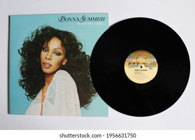 Miami, FL, USA: April 2021: Disco, Rnb, dance and soul artist Donna Summer music album on vinyl record LP disc. Titled: Once Upon a Time album cover