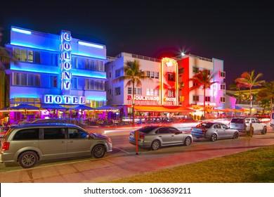 MIAMI, FL, USA - APRIL 6, 2018: Night photo of the Colony Boulevard and Starlite hotels Ocean Drive Miami Beach