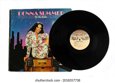 Miami, FL, USA: August 2021: Disco, Rnb, dance and soul artist Donna Summer music album on vinyl record LP disc. Titled: On the Radio album cover
