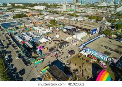 MIAMI, FL, USA - DECEMBER 10, 2017: Aerial drone photo of Wynwood Miami Florida 2017 Art Basel