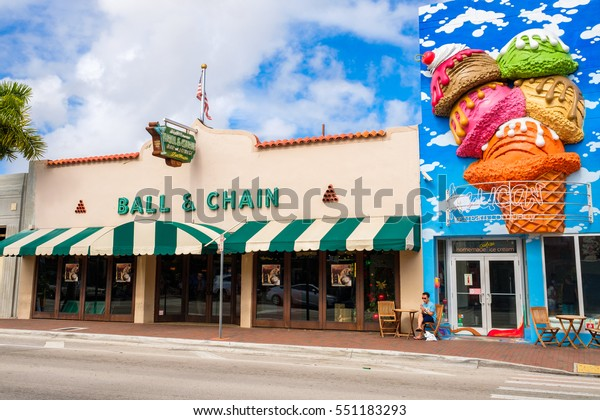 Miami, FL USA - December 18, 2016: Little Havana is a popular tourist destination in the historic Eight Street area with colorful store fronts.