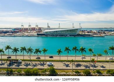 MIAMI, FL, USA - DECEMBER 20, 2018: Aerial image of the Royal Caribbean terminal Port Miami