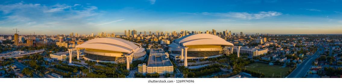MIAMI, FL, USA - DECEMBER 20, 2018: Aerial panorama Marlins Park double stadium Miami Florida