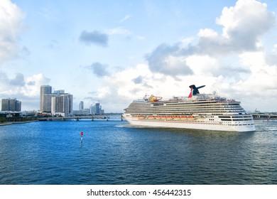 Miami, Fl, USA - December 27, 2015 Carnival Breeze Cruise cruise ship sailing from the port of Miami. Florida, USA to Caribbean or Bahamas cruise.