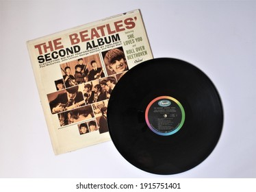 Miami, Fl, USA - Feb 12, 2021: Second Album is a record by the English rock band The Beatles. This music album is on a vinyl record LP disc. Psychedelic pop music.