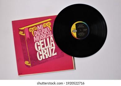 Miami, Fl, USA: Feb 19, 2021: Cuabn salsa and tropical artist, Celia Cruz and La Sonora Matancera music album on vinyl record LP disc. Titled: Mi Diario Musical album cover