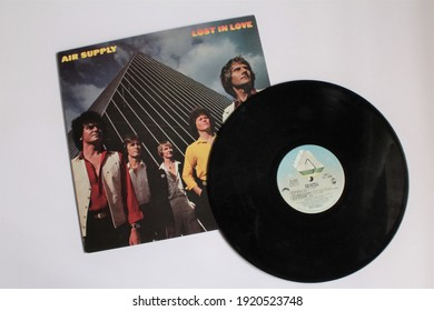 Miami, Fl, USA: Feb 19, 2021: Australian Pop band, Air Supply music album on vinyl record LP disc. Titled: Lost in love