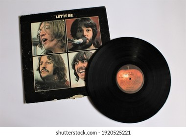Miami, Fl, USA: Feb 19, 2021: Let it Be is a record by the English rock band The Beatles. This music album is on a vinyl record LP disc. Psychedelic pop music.