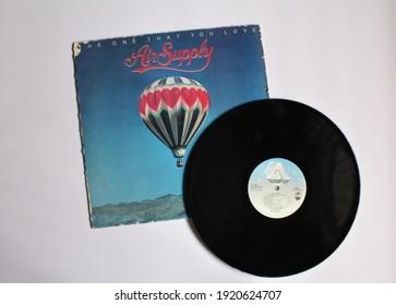 Miami, Fl, USA: Feb 19, 2021: Australian Pop band, Air Supply music album on vinyl record LP disc. Titled: The One That You Love