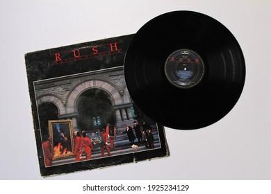 Miami, Fl, USA: Feb 26, 2021: Progressive Canadian Rock band, RUSH music album on vinyl record LP disc. Titled: Moving Pictures