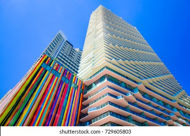Miami, FL USA - February 14, 2017: The beautiful modern and colorful architecture of the luxury SLS Brickell Hotel in the popular downtown Brickell area.
