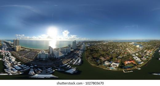 MIAMI, FL, USA - FEBRUARY 17, 2018: Aerial spherical 360 panorama of the Miami International Boat Show