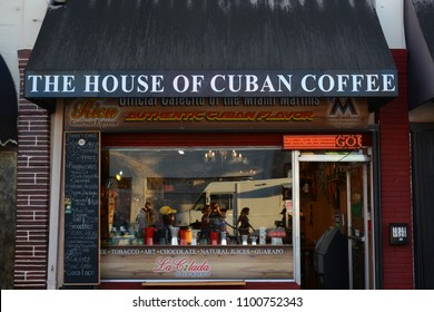 Miami, FL USA - February 18, 2018: Colorful Cuban community Little Havana located on SW 8th street in Miami