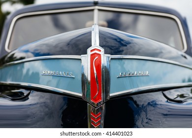 Miami, FL USA - February 28, 2016: Close up view of the front end of a beautifully restored vintage 1941 Studebaker Commander automobile.