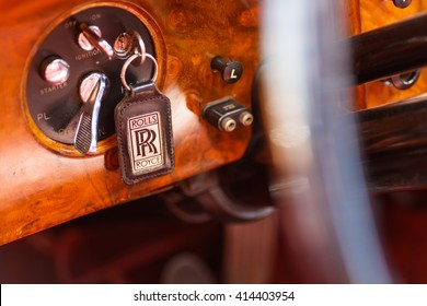 Miami, FL USA - February 28, 2016: Close up view of the interior of a beautifully restored 1952 Rolls Royce automobile.