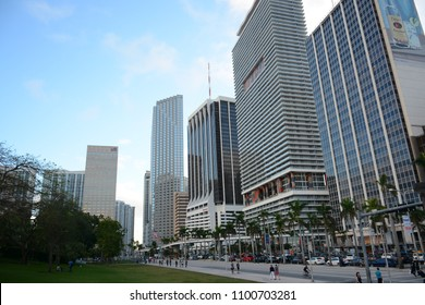 Miami, FL, USA - January 10, 2018: Street view in Miami Downtown