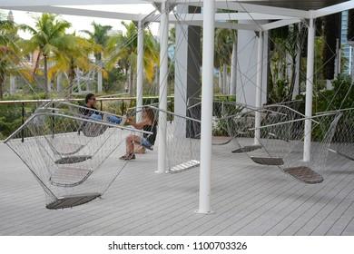 MIAMI, FL, USA - January 10, 2018 : Relax zone near Perez Art Museum
