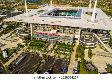 MIAMI, FL, USA - JANUARY 25, 2020: Aerial Miami Super Bowl LIV Hard Rock Stadium photo