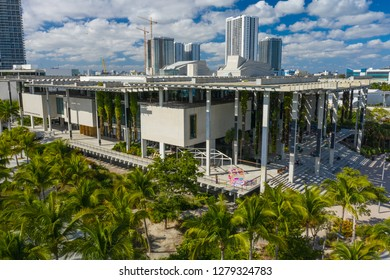 MIAMI, FL, USA - JANUARY 5, 2019: Aerial image of the Perez Museum of Art Downtown Miami