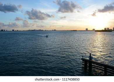 MIAMI, FL, USA - JANUARY 7, 2018: Beautiful view from Bal Harbour Islands during sunset, Florida
