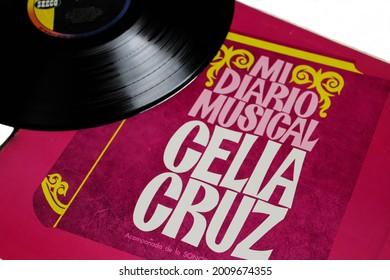Miami, Fl, USA: July 2021: Cuabn salsa and tropical artist, Celia Cruz and La Sonora Matancera music album on vinyl record LP disc. Titled: Mi Diario Musical album cover