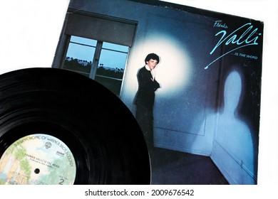 Miami, Fl, USA: July 2021:  Rock, funk, soul, pop, and disco American signer, Frankie Valli studio album titled: Frankie Valli...Is the Word album cover