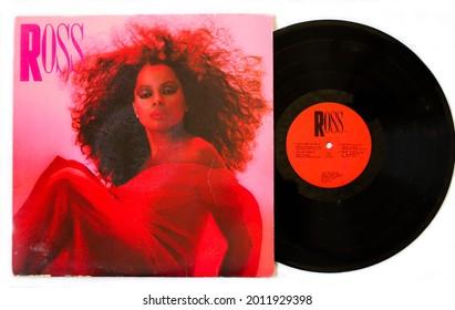 Miami, Fl, USA: July 2021: RnB Soul artist, Diana Ross music album on vinyl record LP Motown disc. Titled: Ross album cover