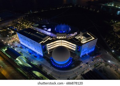 MIAMI, FL, USA - JULY 28, 2017: Aerial night image Phillip and Patricia Frost Museum of Science Downtown Miami