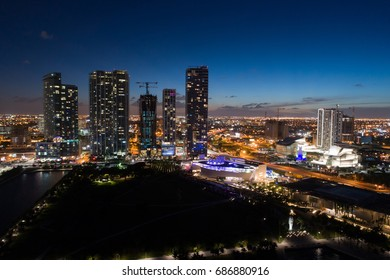 MIAMI, FL, USA - JULY 30, 2017: Aerial night image of Downtown Miami by Museum Park