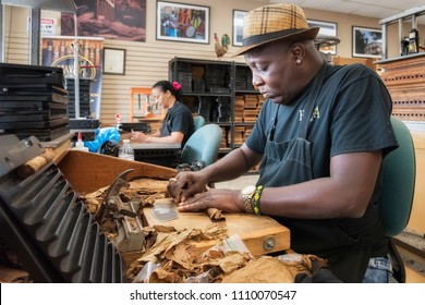 Miami, FL USA - JUNE 10, 2018: Hand made cigars production in Little Havana district