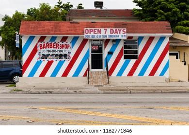 Miami, FL USA - June 10, 2018: classic barber shop in Little Havana, Miami, USA