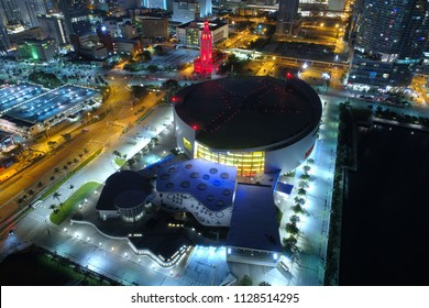 MIAMI, FL, USA - JUNE 20, 2018: Aerial night image of the American Airlines Arena Downtown Miami Florida