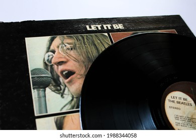 Miami, FL, USA: June 2021: Let it Be is a record by the English rock band The Beatles. This music album is on a vinyl record LP disc. Psychedelic pop music. Album cover