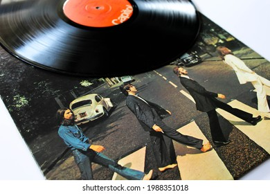 Miami, FL, USA: June 2021: Abbey Road is a record by the English rock band The Beatles. This music album is on a vinyl record LP disc. Psychedelic pop music. Album cover