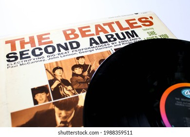 Miami, FL, USA: June 2021: Second Album is a record by the English rock band The Beatles. This music album is on a vinyl record LP disc. Psychedelic pop music. Album cover